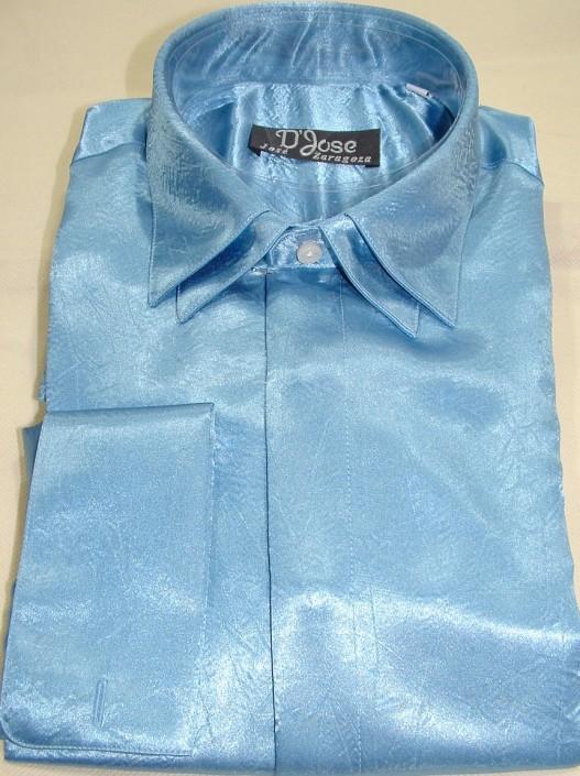 Camisa raso ceremonia azul, doble cuello y doble puño para gemelos, Jose Zaragoza - Novios
