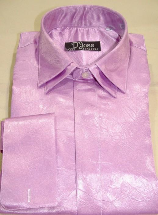 Camisa raso ceremonia rosa, doble cuello y doble puño para gemelos, Jose Zaragoza - Novios