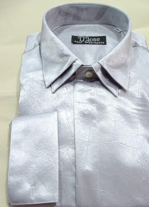 Camisa raso ceremonia gris, doble cuello y doble puño para gemelos, Jose Zaragoza - Novios