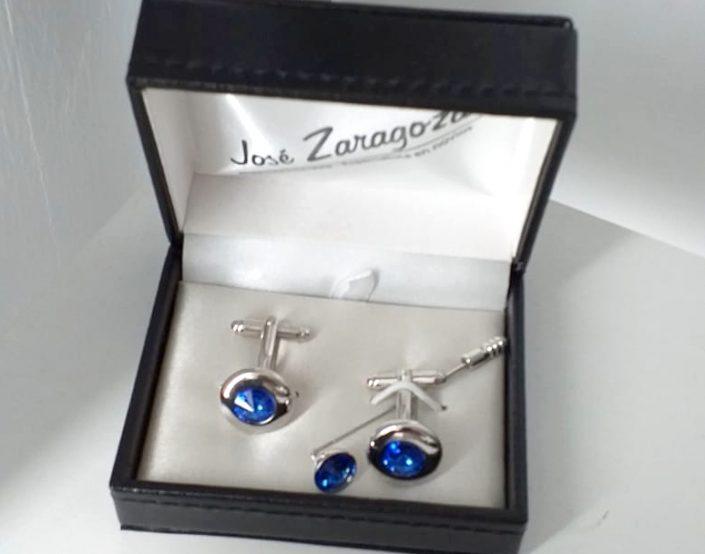 Gemelos y alfiler rodio cristal azul Jose Zaragoza -Novios