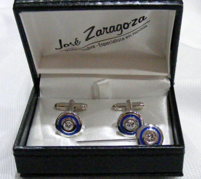Gemelos y alfiler rodio con aro azul y cristal blanco, Jose Zaragoza -Novios