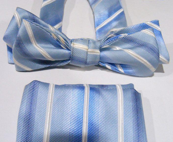 Pajarita azul rayas anchasy pañuelo bolsillo, Jose Zaragoza - Novios