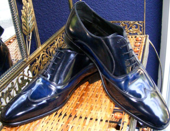 Calzado español todo piel, combinado azul tinta, Jose Zaragoza - Novios